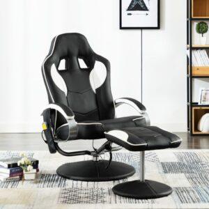 vidaXL Cadeira massagens elétrica c/ apoio pés couro artificial branco