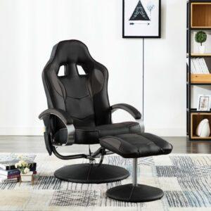 vidaXL Cadeira massagens elétrica c/ apoio pés couro artif. cinzento