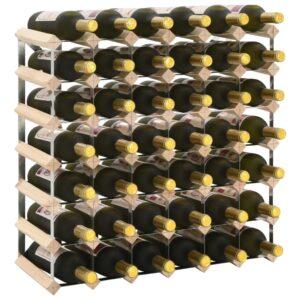 vidaXL Garrafeira para 42 garrafas madeira de pinho maciça