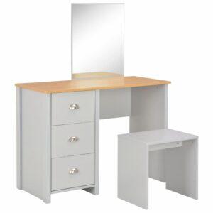 vidaXL Toucador com espelho e banco 104x45x131 cm cinzento