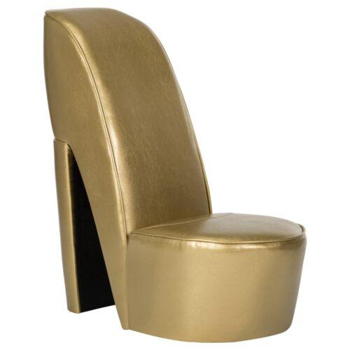 vidaXL Cadeira estilo sapato de salto alto couro artificial dourado