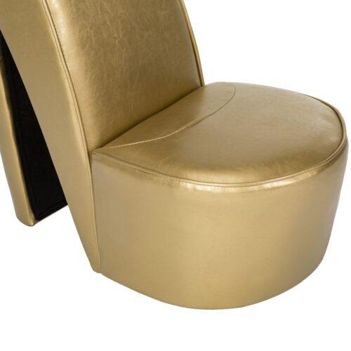 Cadeira estilo sapato de salto alto couro artificial dourado