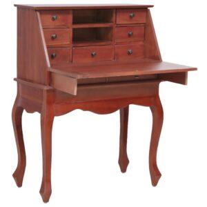 vidaXL Escrivaninha 78x42x103 cm madeira de mogno maciça castanho