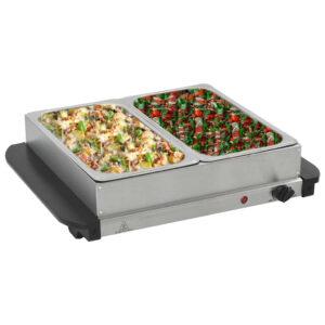vidaXL Buffet quente 200 W 2×2,5 L aço inoxidável