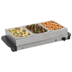 vidaXL Buffet quente 200 W 3×1,5 L aço inoxidável