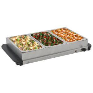 vidaXL Buffet quente 300 W 3×2,5 L aço inoxidável