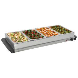 vidaXL Buffet quente 400 W 4×2,5 L aço inoxidável