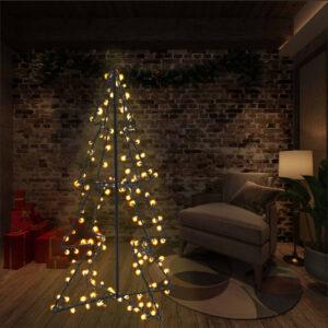 vidaXL Árvore de Natal em cone 160 LEDs 78×120 cm interior e exterior