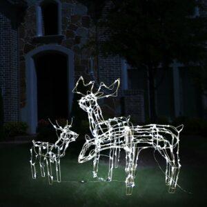 vidaXL 3 pcs iluminação de Natal renas 229 LEDs