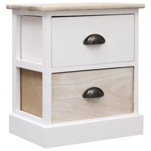 vidaXL Mesa de cabeceira 38x28x45cm madeira paulownia branco e natural