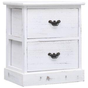 vidaXL Mesa de cabeceira 38x28x45 cm madeira de paulownia branco