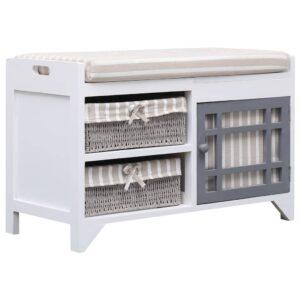 vidaXL Banco de corredor 70×33,5×45 cm madeira de paulownia branco