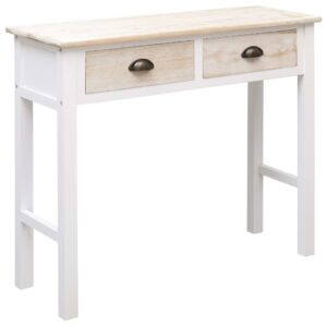 vidaXL Mesa consola 90x30x77 cm madeira branco e cor natural
