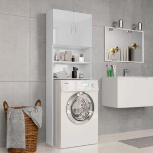 vidaXL Armário máq. de lavar 64×25,5x190cm aglomerado branco brilhante