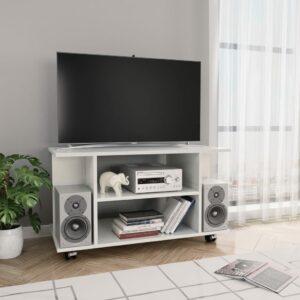 vidaXL Móvel de TV com rodas 80x40x40cm contraplacado branco brilhante