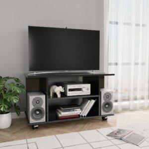 vidaXL Móvel de TV com rodas 80x40x40cm contraplacado preto brilhante