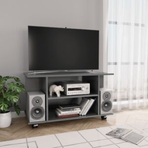 vidaXL Móvel TV c/ rodas 80x40x40 cm contraplacado cinzento brilhante