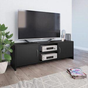 vidaXL Móvel de TV 120x30x37,5 cm contraplacado preto