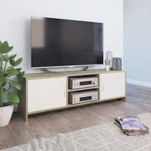 vidaXL Móvel TV 120x30x37,5 cm contraplacado branco e carvalho sonoma