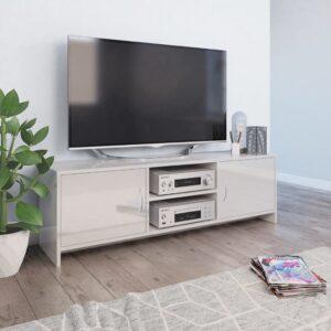 vidaXL Móvel de TV 120x30x37,5 cm contraplacado branco brilhante