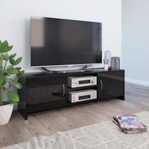 vidaXL Móvel de TV 120x30x37,5 cm contraplacado preto brilhante