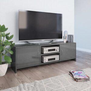 vidaXL Móvel de TV 120x30x37,5 cm contraplacado cinzento brilhante