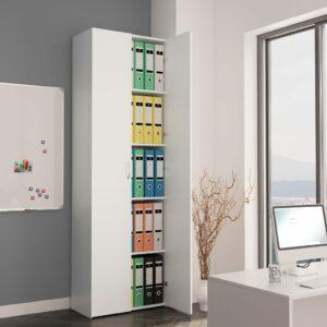 vidaXL Armário de escritório 60x32x190 cm contraplacado branco