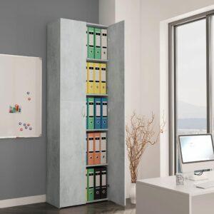 vidaXL Armário escritório 60x32x190 cm contraplacado cinzento cimento