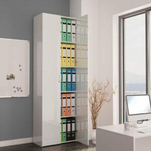 vidaXL Armário escritório 60x32x190cm contraplacado branco brilhante