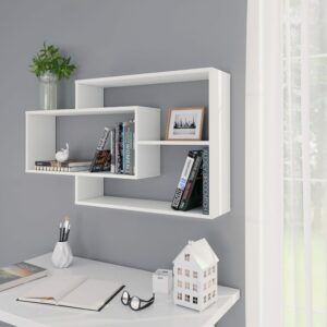 vidaXL Prateleiras de parede 104x24x60 cm contraplacado branco