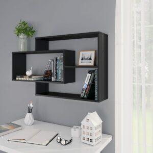vidaXL Prateleiras de parede 104x24x60 cm contraplacado preto