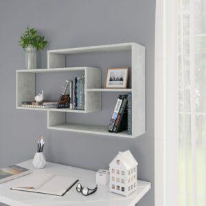 vidaXL Prateleiras parede 104x24x60 cm contraplacado cinzento cimento