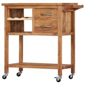 vidaXL Carrinho de cozinha 80x45x91 cm madeira de acácia maciça