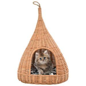 vidaXL Ninho para gatos fechado c/ almofadão 40×60 cm salgueiro genuíno
