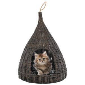 vidaXL Ninho p/ gatos fechado c/ almofadão 40×60 cm salgueiro cinzento