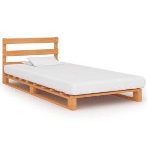 vidaXL Estrutura de cama em paletes pinho maciço 100×200 cm castanho
