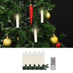 vidaXL Velas LED sem fios com controlo remoto 10 pcs branco quente