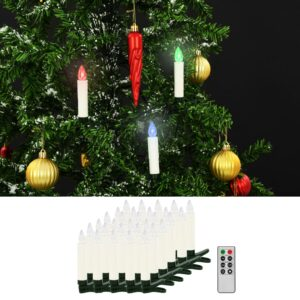 vidaXL Velas LED sem fios de Natal com controlo remoto 30 pcs RGB