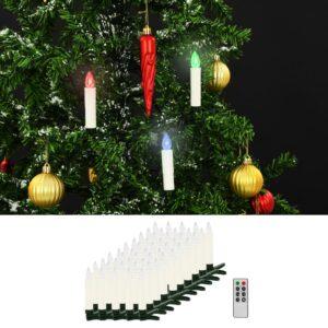vidaXL Velas LED sem fios de Natal com controlo remoto 50 pcs RGB