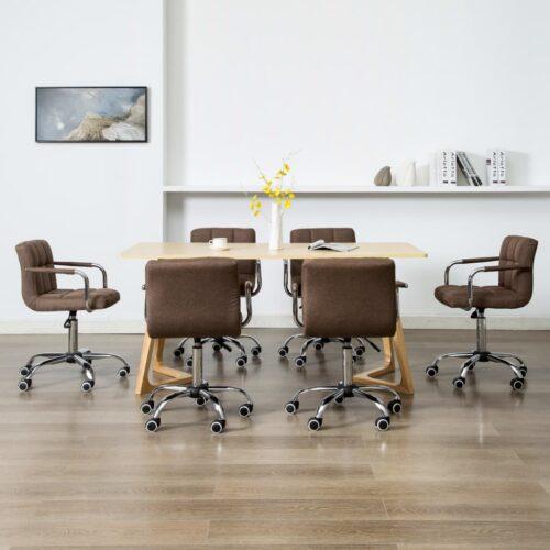 vidaXL Cadeiras de jantar giratórias 6 pcs tecido castanho