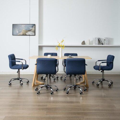 vidaXL Cadeiras de jantar giratórias 6 pcs tecido azul