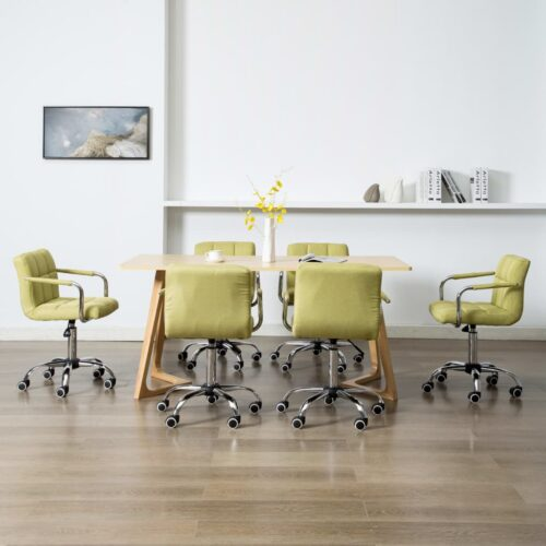 vidaXL Cadeiras de jantar giratórias 6 pcs tecido verde